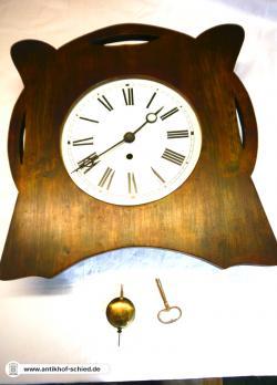 Antike Uhr, Antike Wanduhr Jugendstil um 1900/10, Federzug, original Pendel