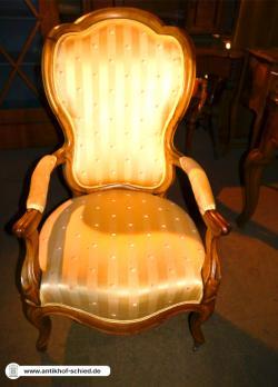 Antiker Sessel Louis-Philippe-Armlehnsessel Nussbaum