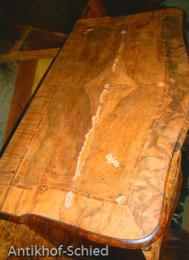 Restaurierung Vorher: Barock-Kommode, Nussbaum, 3-schübig, Edelholz