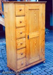 Restaurierung  Nachher: Brotschrank, Kiefer, 6-schübig, 1-türig, Weichholz