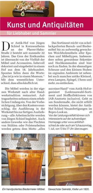 Antik Hof Schied In Der Stuttgarter Zeitung Kunst Und Antiquitäten